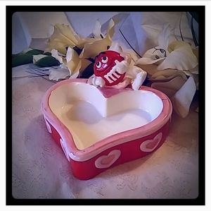 M & M Heart-shaped Candy Dish